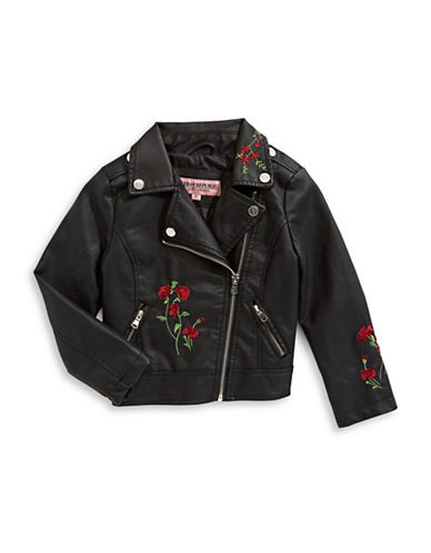 Urban Republic Embroidered Floral Jacket-BLACK-6X