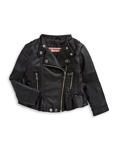Urban Republic Ruffle Hem Biker Jacket-BLACK-7-8