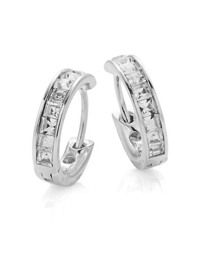 Nadri Small Rhinestone Hoop Earrings-RHODIUM-One Size