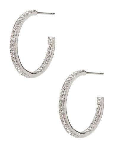 Nadri Open Pave Hoop Earrings-SILVER-One Size