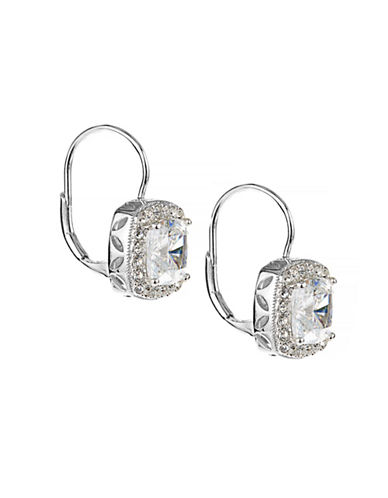 Nadri Faceted Pave Square Earrings-SILVER-One Size