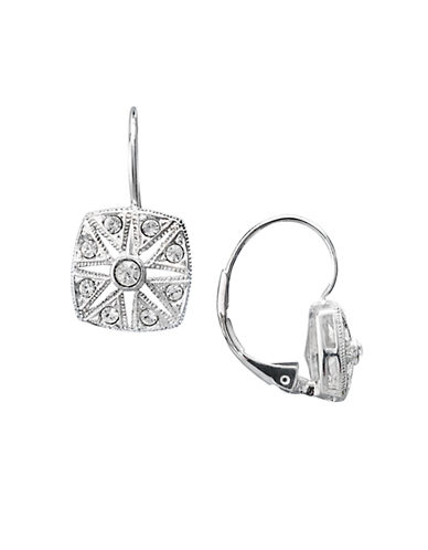 Nadri Square Deco Crystal Drop Earring-SILVER-One Size