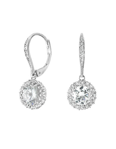 Nadri Round Framed Cubic Zirconia Drop Earring-SILVER-One Size