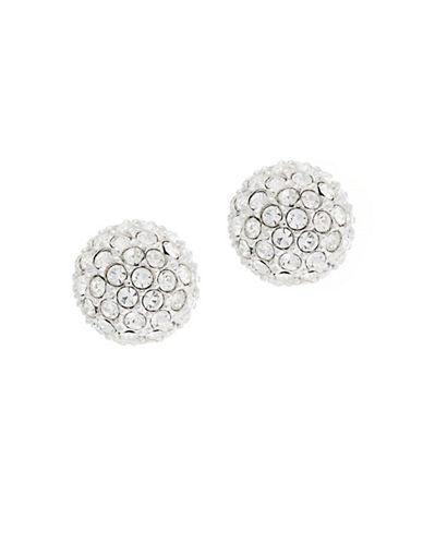 Nadri Tiny Pave Ball Earring-RHODIUM-One Size