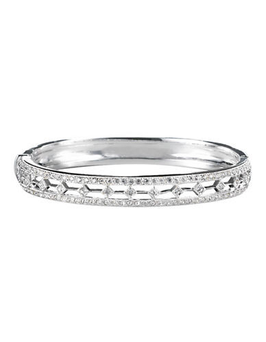 Nadri Diamond Track Hinged Bangle-SILVER-One Size
