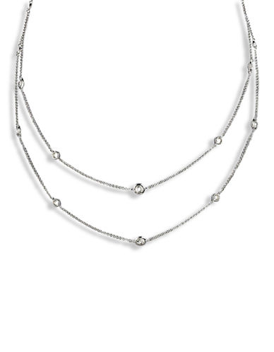 Nadri 54 Inch Cubic Zirconia Bezel Chain Necklace-SILVER-One Size