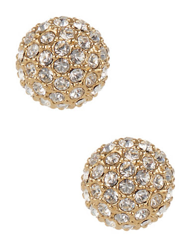 Nadri Pave Ball Stud Earrings-GOLD-One Size