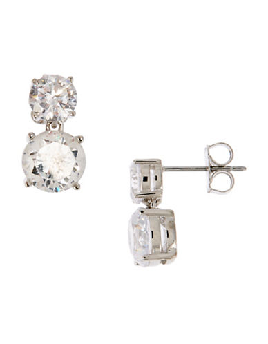 Nadri Double Round Cubic Zirconia Stud Earrings-NO COLOR-One Size