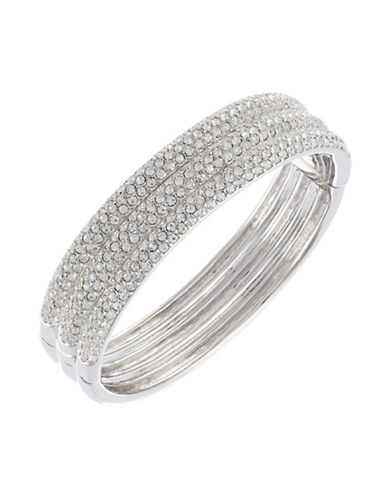 Nadri 3 Row Pave Hinge Bangle-RHODIUM-One Size