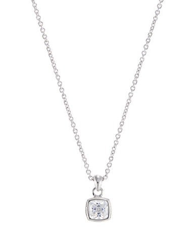 Nadri Framed Square CZ Pendant Necklace-RHODIUM-One Size