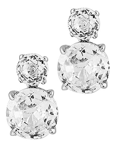 Nadri Double CZ Clip Earrings-RHODIUM-One Size
