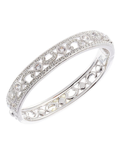 Nadri Delicate Pave Hinge Bangle-RHODIUM-One Size