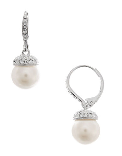 Nadri Pearl Drop with Pave Accents-RHODIUM-One Size