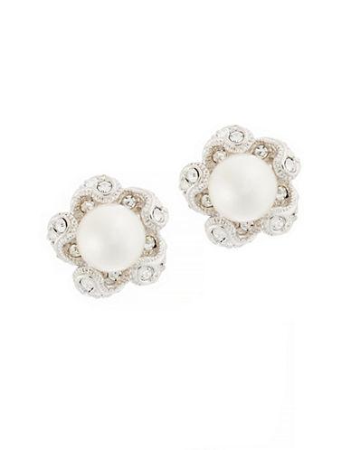Nadri Swirl Pave Framed Stud Earrings-RHODIUM-One Size
