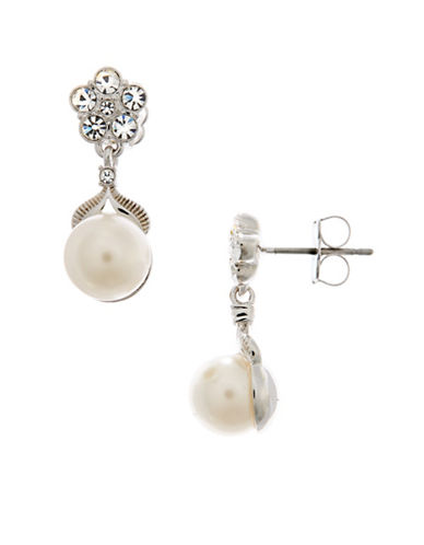 Nadri Pearl and Flower Drop Earring-RHODIUM-One Size