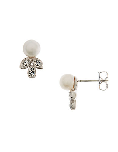 Nadri Pearl with Pave Leaf Accent Studs-RHODIUM-One Size