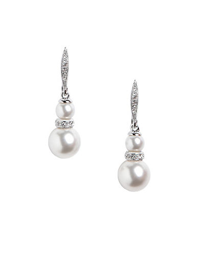 Nadri Double Pearl With Pave Crystal Rond Drop Earring-WHITE-One Size