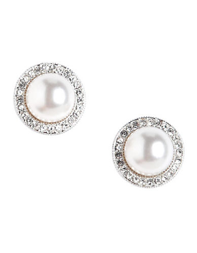 Nadri Framed Pearl Stud Earring-WHITE-One Size