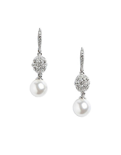 Nadri Pearl And Crystal Pave Drop Earrings-WHITE-One Size