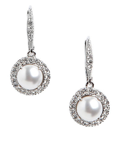 Nadri Framed Drop Pearl Earring-WHITE-One Size