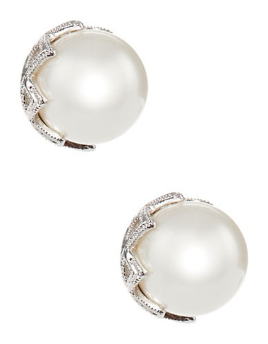 Nadri Pearl Stud Earrings-SILVER-One Size