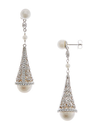 Nadri Pearl and Pave Cone Drop Earrings-RHODIUM-One Size