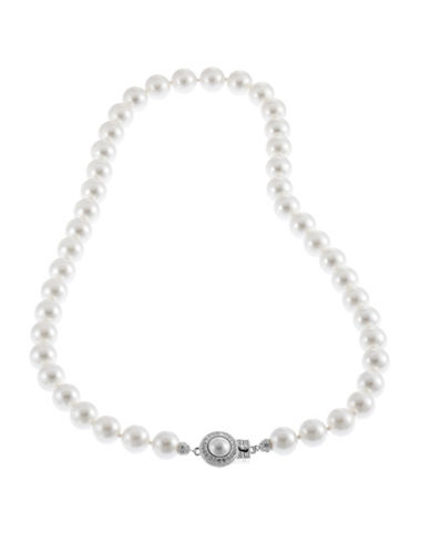 Nadri NADRI 16 inch 8mm Pearl Necklace with Pave Framed Pearl clasp-PEARL-One Size