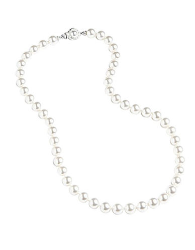 Nadri 8mm 18 Inch Pearl Framed Clasp Necklace-WHITE-One Size