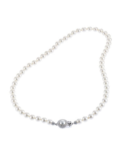 Nadri 16 inch 6mm Pearl Necklace with Pave Framed Pearl Clasp-PEARL-One Size