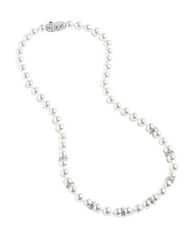 Nadri 6mm 16 inch Pearl Strand With Pave Crystal Ronds Necklace-WHITE-One Size