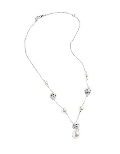 Nadri Pearl And Pave Crystal Station Y Necklace-WHITE-One Size