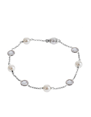 Nadri Pearl And Crystal Station Bracelet-SILVER-One Size
