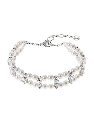 Nadri Two Row Pearl and Cubic Zirconia Bracelet-SILVER-One Size