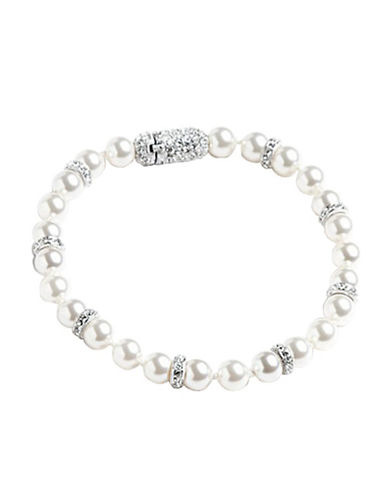 Nadri 6mm Pearl With Pave Crystal Rond Bracelet-WHITE-One Size