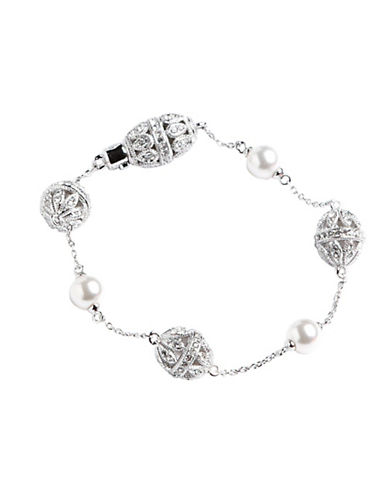 Nadri Pearl And Pave Crystal Station Bracelet-CRYSTAL-One Size