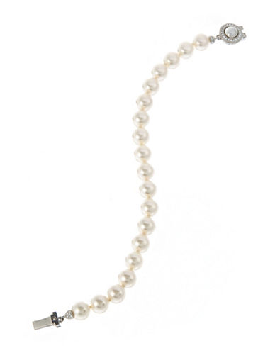 Nadri 8mm Pearl Bracelet with Framed Pearl Clasp-SILVER-One Size