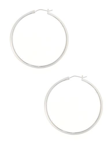 Nadri 1.5 inch Round Kinfe Edge Hoop-SILVER-One Size