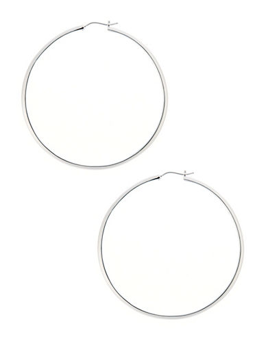 Nadri 2 inch Round Kinfe Edge Hoop-SILVER-One Size