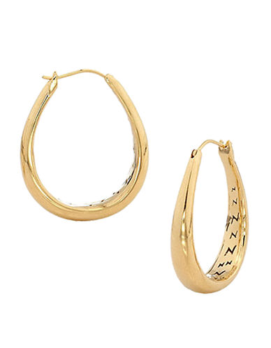 Nadri Gold 1 inch Tapered Elongated  Hoop-GOLD-One Size