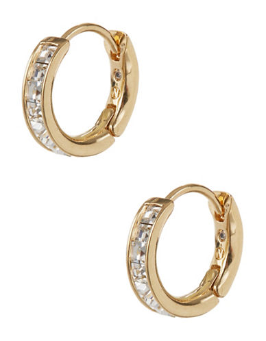 Nadri Small Rhinestone Hoop Earrings-GOLD-One Size