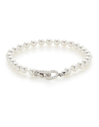 Nadri Faux Pearl Pave Closure Bracelet-WHITE-One Size