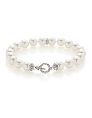 Nadri Pave Accent Faux Pearl Bracelet-WHITE-One Size