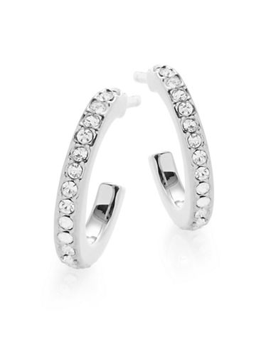Nadri Goldtone Channel Huggie Hoops-SILVER-One Size