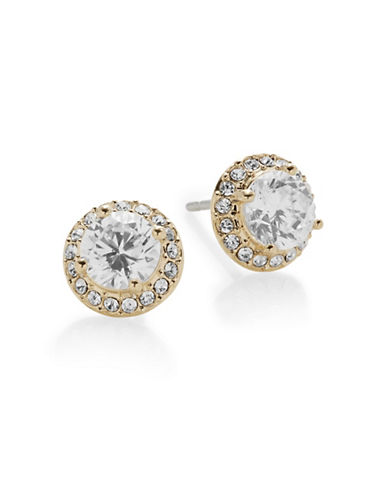 Nadri Goldtone Pave Stud Earrings-GOLD-One Size