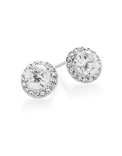 Nadri Goldtone Pave Stud Earrings-SILVER-One Size