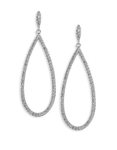 Nadri Open Pave Teardrop Earrings-SILVER-One Size