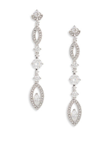 Nadri Pave Petal Linear Drop Earrings-SILVER-One Size