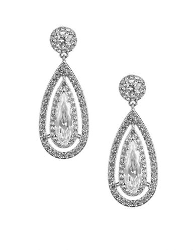 Nadri Framed Teardrop Earrings-SILVER-One Size