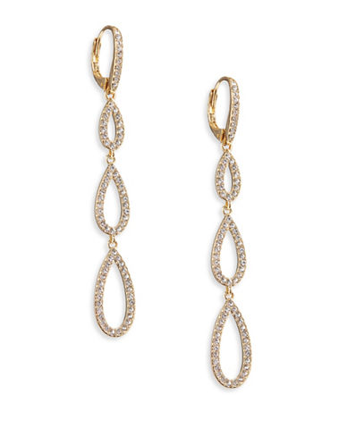 Nadri Triple Pave Teardrop Earrings-GOLD-One Size