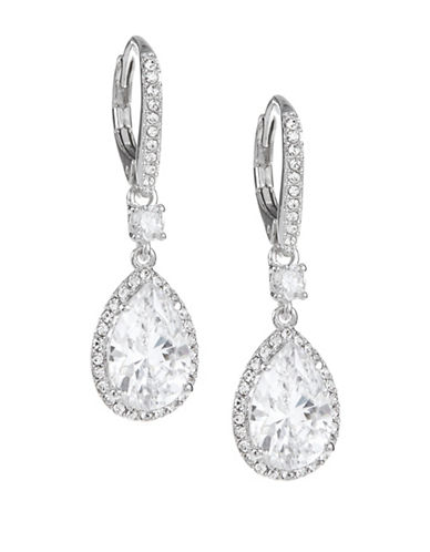 Nadri Pave Teardrop Earrings-SILVER-One Size